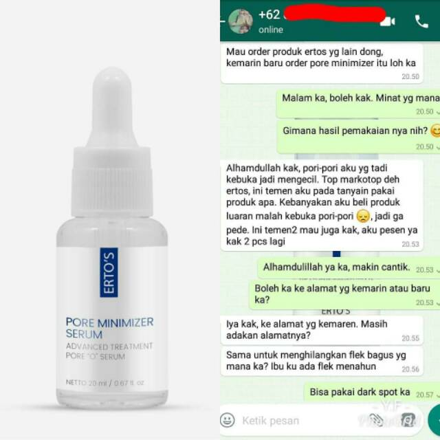 Ertos Pore Minimizer Serum Original 100 Shopee Indonesia