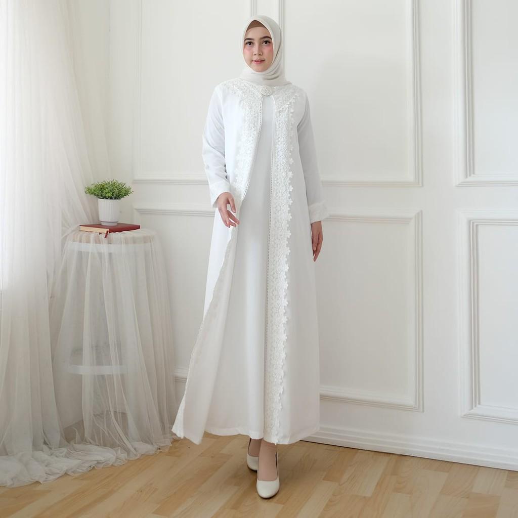 AGNES Baju Gamis Putih Wanita Brukat Baju Lebaran Umroh Haji Busana Muslim  Wanita 11
