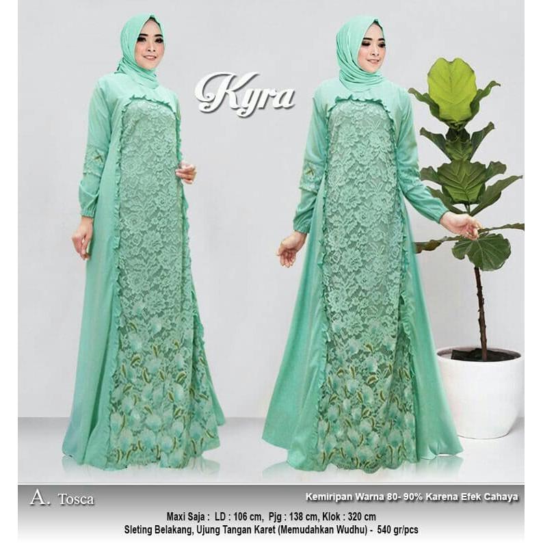 W12 Baju Gamis Pesta Muslim Remaja Wisuda Modern Khayra Brukat Warna Tosca