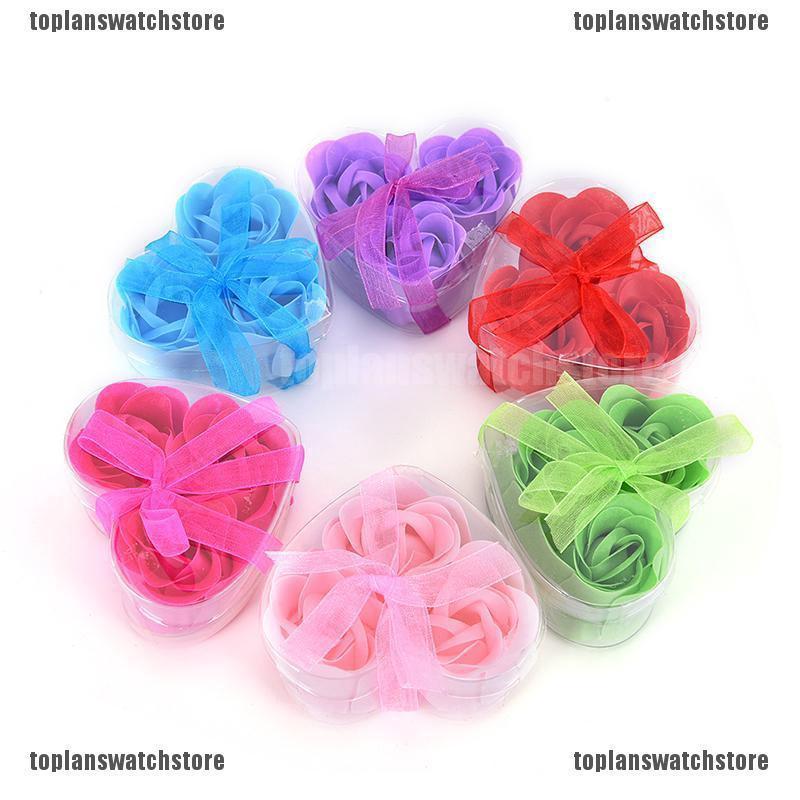 Topl 3pcs Sabun Mandi Bentuk Hati Wangi Bunga Mawar Untuk Hadiah