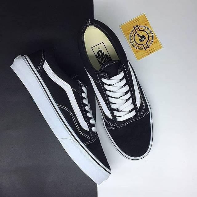 48b65600de 100% PREMIUM Sepatu Vans Old Skool Classic Full Black Dope White DT oldskool