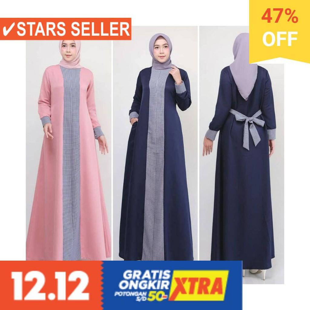 BAJU MUSLIM TERKINI TERBARU WANITA MURAH CEWE ASLI / COD Baju Gamis Paket 11  Maia Dress Modern