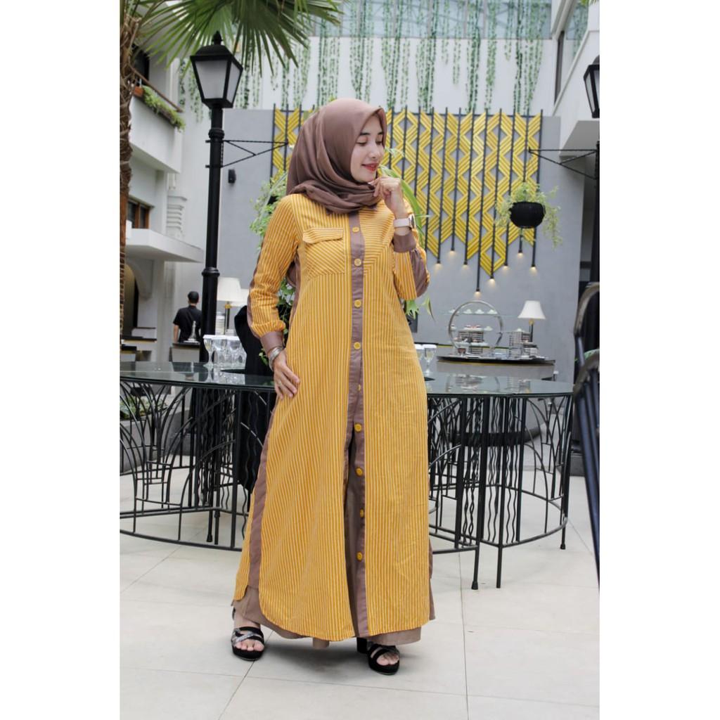 Baju Muslim Wanita - Dress Aliya - Gamis ZALIFA - Kuning list Coklat