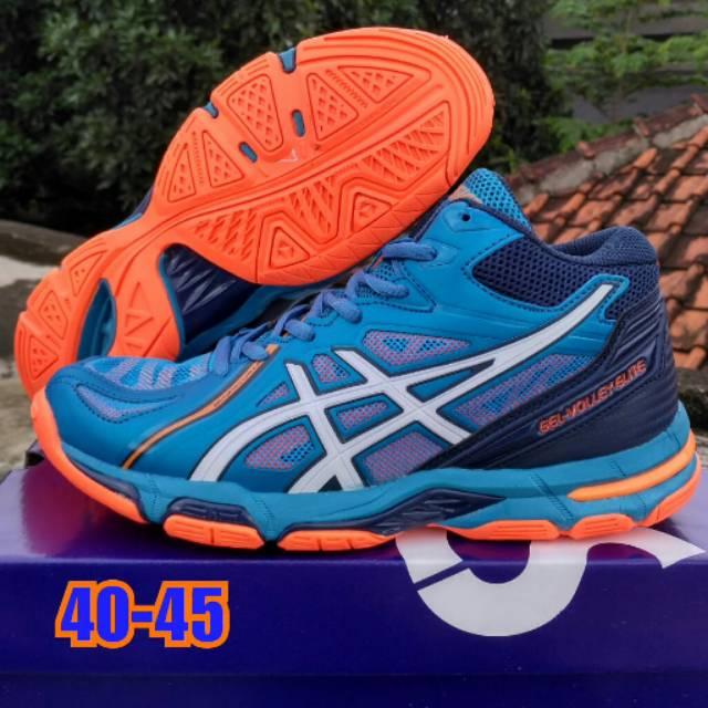Sepatu Volly Asics Gel Elite Boot Biru Orange Shopee Indonesia