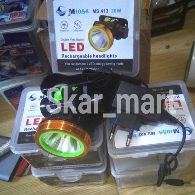 Senter Kepala Headlamp Headlight 30 Watt Miosa Ms 413 Kuning Shopee Indonesia