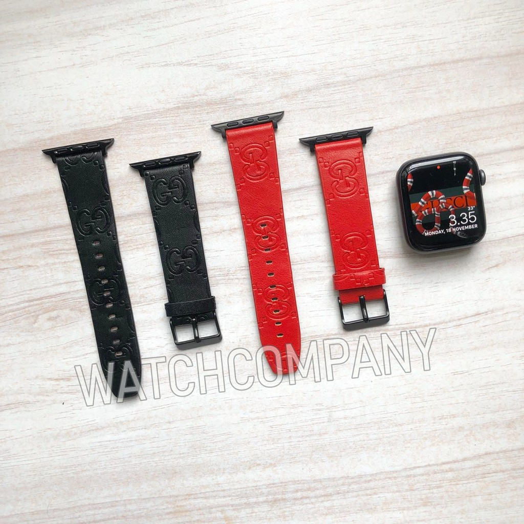 Strap Apple Watch Iwatch Iwo Gucci Patern Monogram Keren Leather 1 2 3 4 40mm Tali Jam Tangan Keren Shopee Indonesia