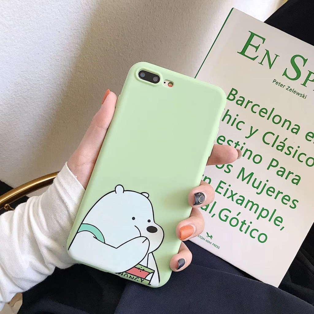 Casing Soft Case Silica Gel Motif Kartun Bare Bear Untuk Oppo R17 R15 A7x A5 R9s Vivo X23 Y93 Y85