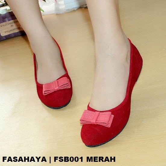 Fasahaya Sepatu Wanita Flat Shoes Ballet Teplek Cantik Murah Terbaru FSB001  Merah  42f17e014a