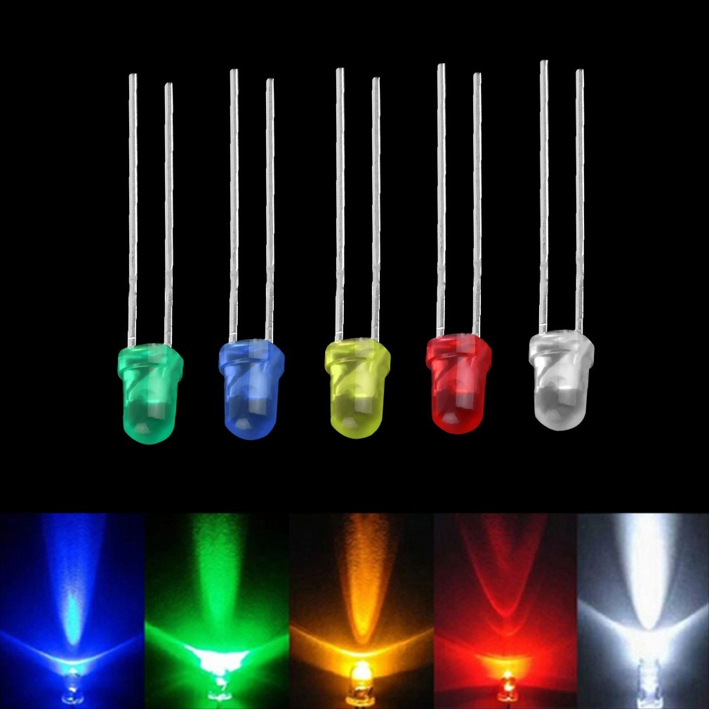 100Pcs Ultra Bright Round LED Diode Kit 20x Red Green Blue White Yellow 3mm 5mm