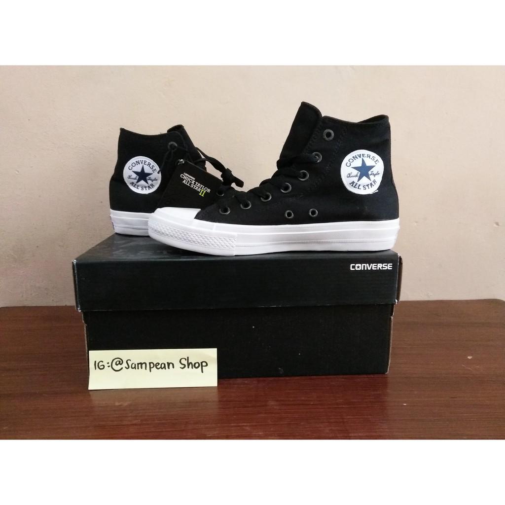 Converse All Star Chuck Taylor II Black white High Premium BNIB (Free tas  sepatu)  f5cc48fd34