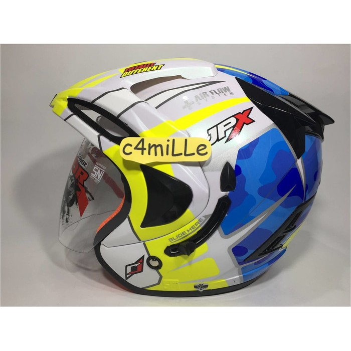 HELM JPX SUPREME ESPARGARO 41 PEARL WHITE DOUBLE VISOR HALF FACE
