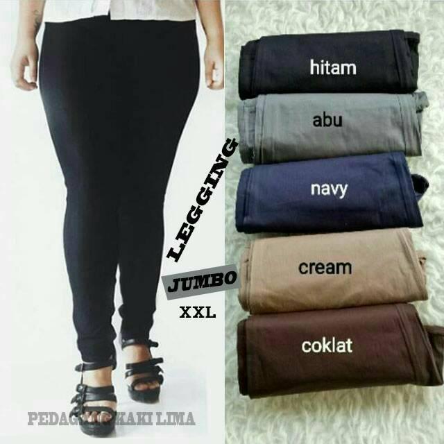 Celana Katun Stretch Leggings Ukuran Jumbo Xxl Shopee Indonesia