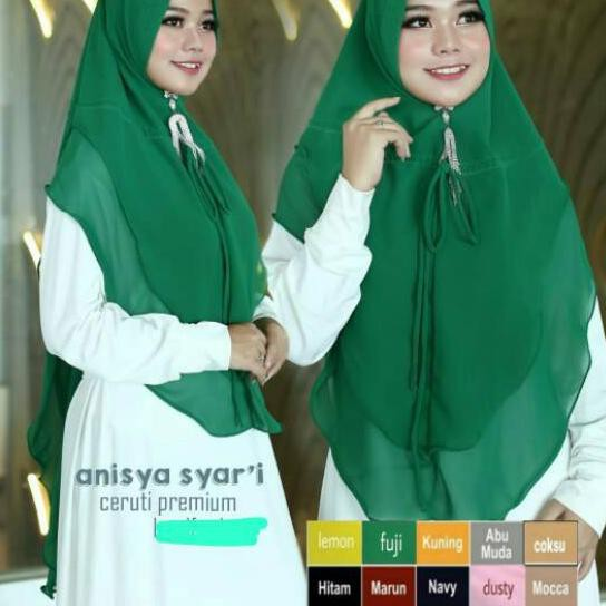 Ipd Hijab Syari Khimar Ceruty Oval Warna Hijau Puji Hijau Botol Shopee Indonesia