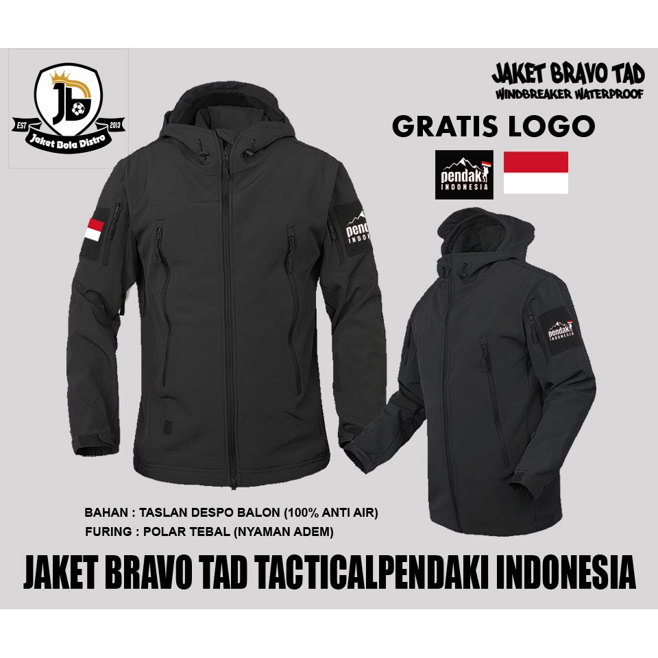 Kalibre EDGE 01 Jaket Gunung Hoodie Outdoor Anti Air Waterproof Water  Resistant Hitam Running Jacket  256a586db8