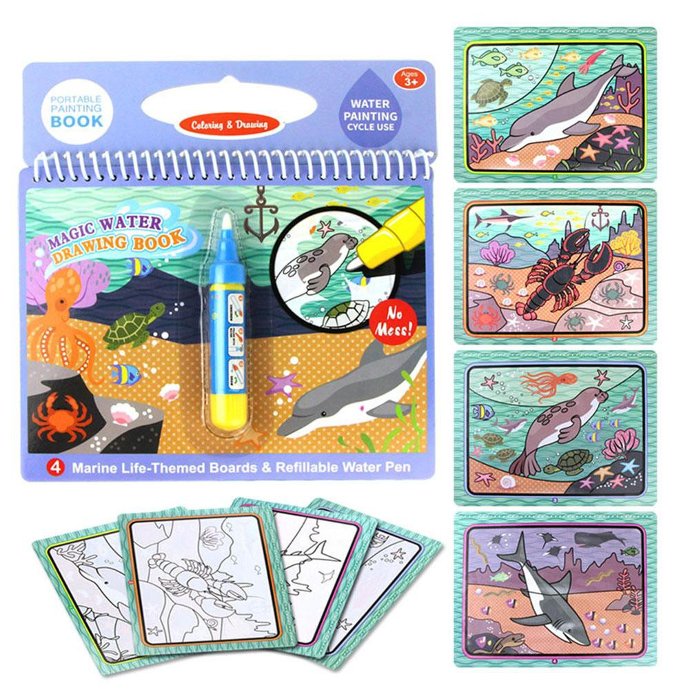 Mainan Buku Menggambar Mewarnai Dengan Pen Air Untuk Anak Dapat Digunakan Kembali
