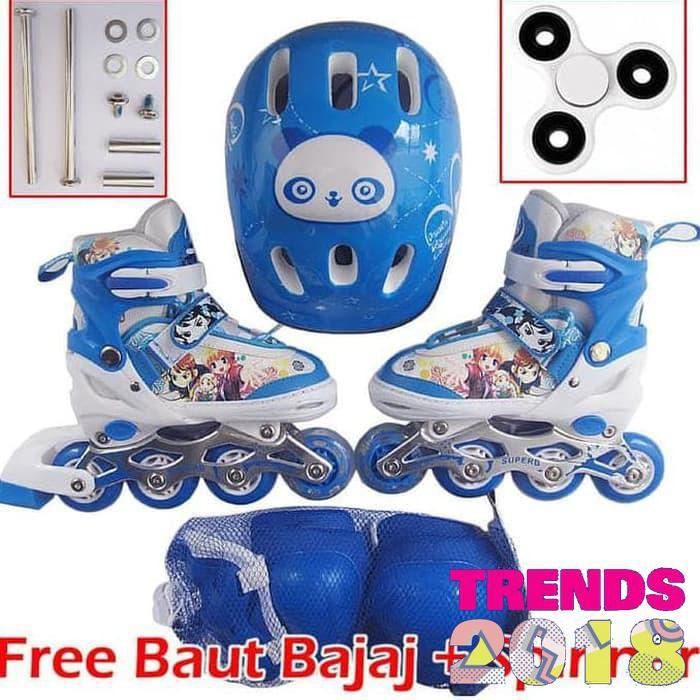 Sepatu roda set + dekker + helm   inline skate anak  5678afa252