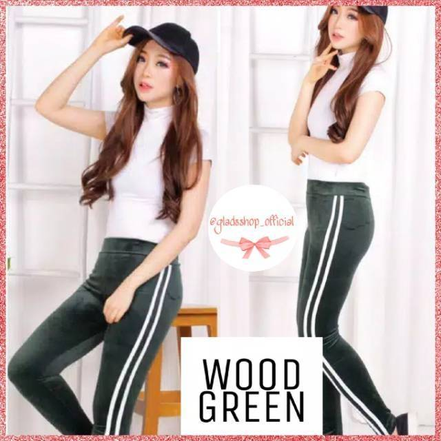 Celana Legging Velvet Stripe Import Legging Bludru Fashion Wanita Terlaris Shopee Indonesia