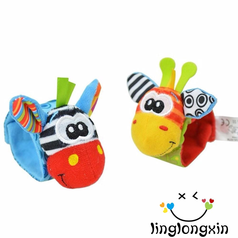 4 Piece Cute Animal Infant Baby Kids Hand Wrist Bell Foot Sock Rattles Soft Toy