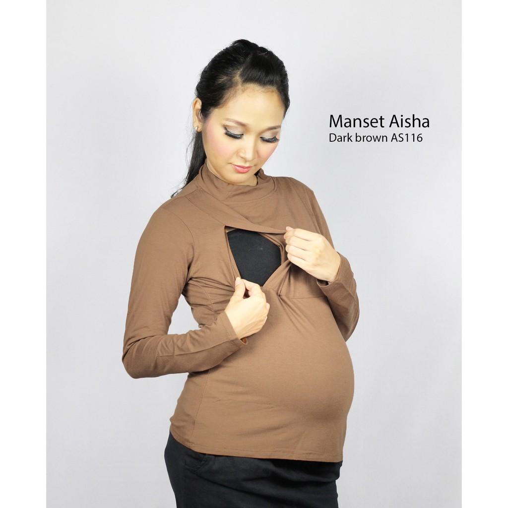 Just Mom Baju Menyusui Manset Aisha Khaki Daftar Harga Terlengkap Hamil Arietta Green 105