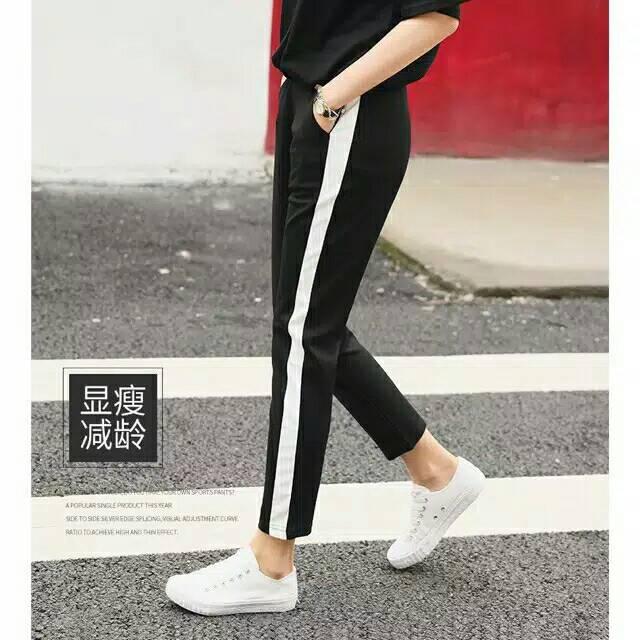 Celana Strip Scuba Hitam Putih Legging Zara Pants Zarra Celana Olahraga Santai Shopee Indonesia
