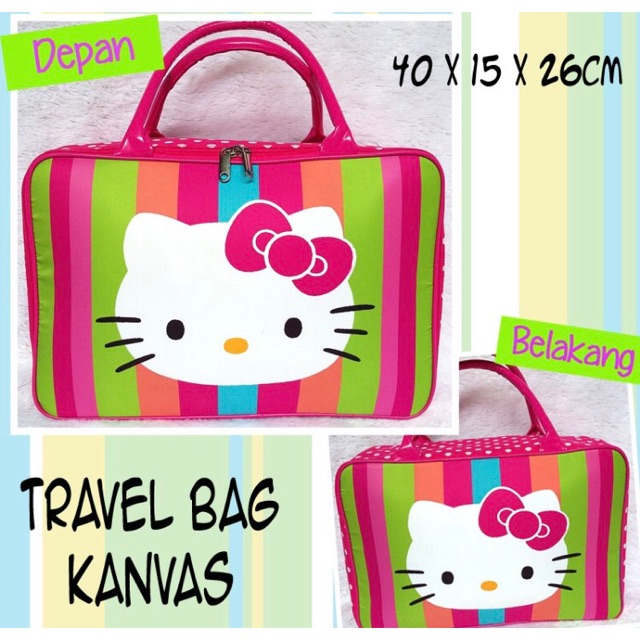 Tas travel bag kanvas hello kitty rainbow / tas koper jinjing renang helo kity | Shopee Indonesia
