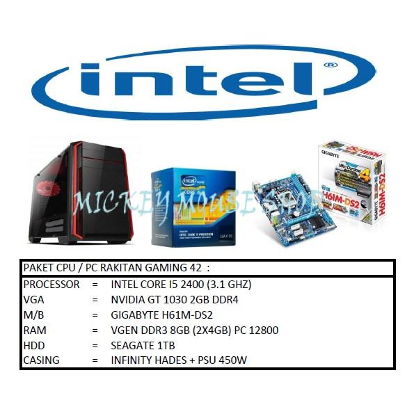 PC PAKET CPU / PC RAKITAN GAMING 42 / INTEL I5 2400 / GT 1030 / RAM 8GB