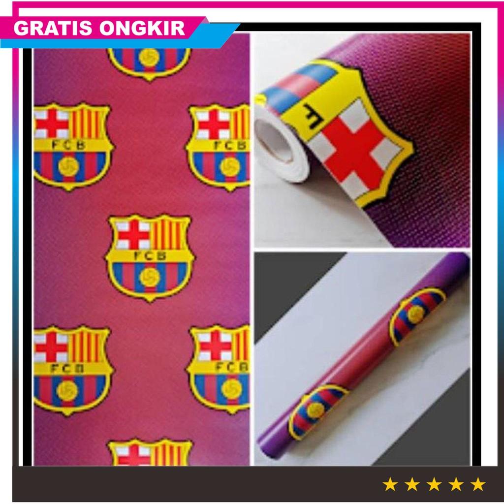 Jual Wallpaper Dinding Murah Dekor Kamar Cowok Club Bola Barcelona Merah Terbatas
