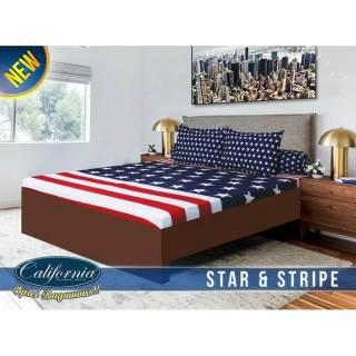 Sprei California Karakter Motif Star & Stripe 180x200 cm   Shopee Indonesia