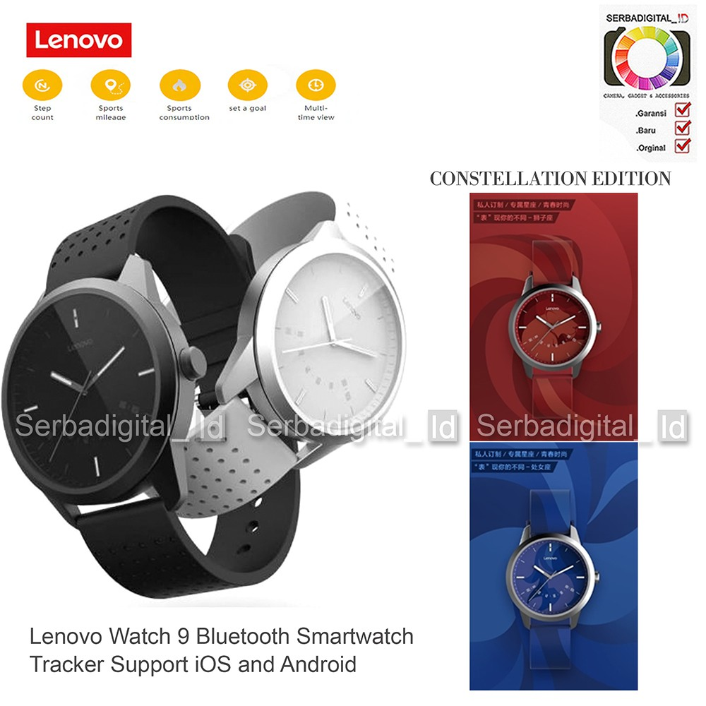 Lenovo Watch 9 Bluetooth Smartwatch Tracker Support iOS and Android | Shopee Indonesia