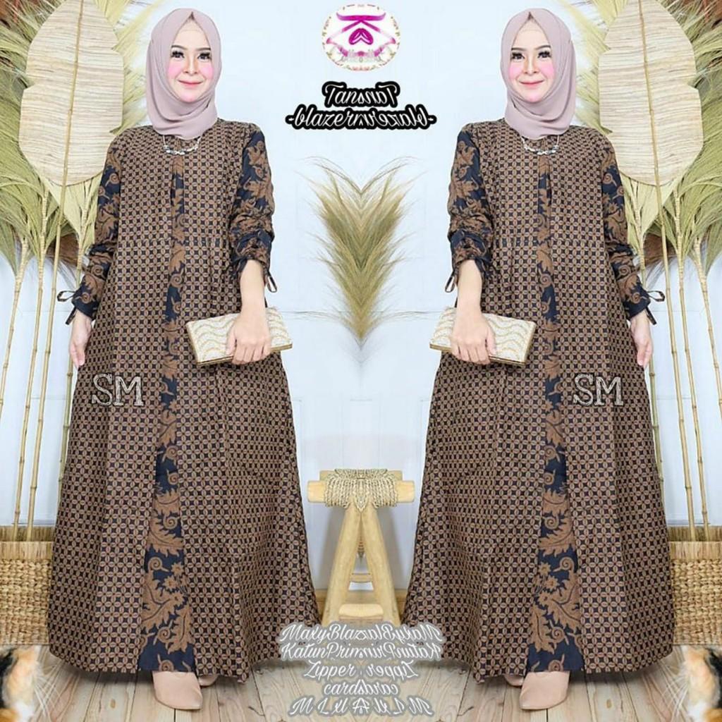 Baju gamis batik wanita modern murah kain adem di pakai grosir dan ecer  baju gamis model terbaru
