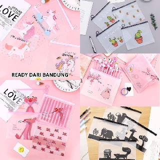 Pouch Kosmetik / Alat Tulis Transparan Unicorn Pink Panther Cactus Pig Animal Anti Air Waterproof