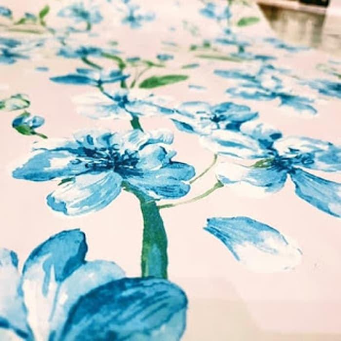 Jual Wallpaper Sticker Dinding Murah Putih Bunga Anggrek Biru X 47