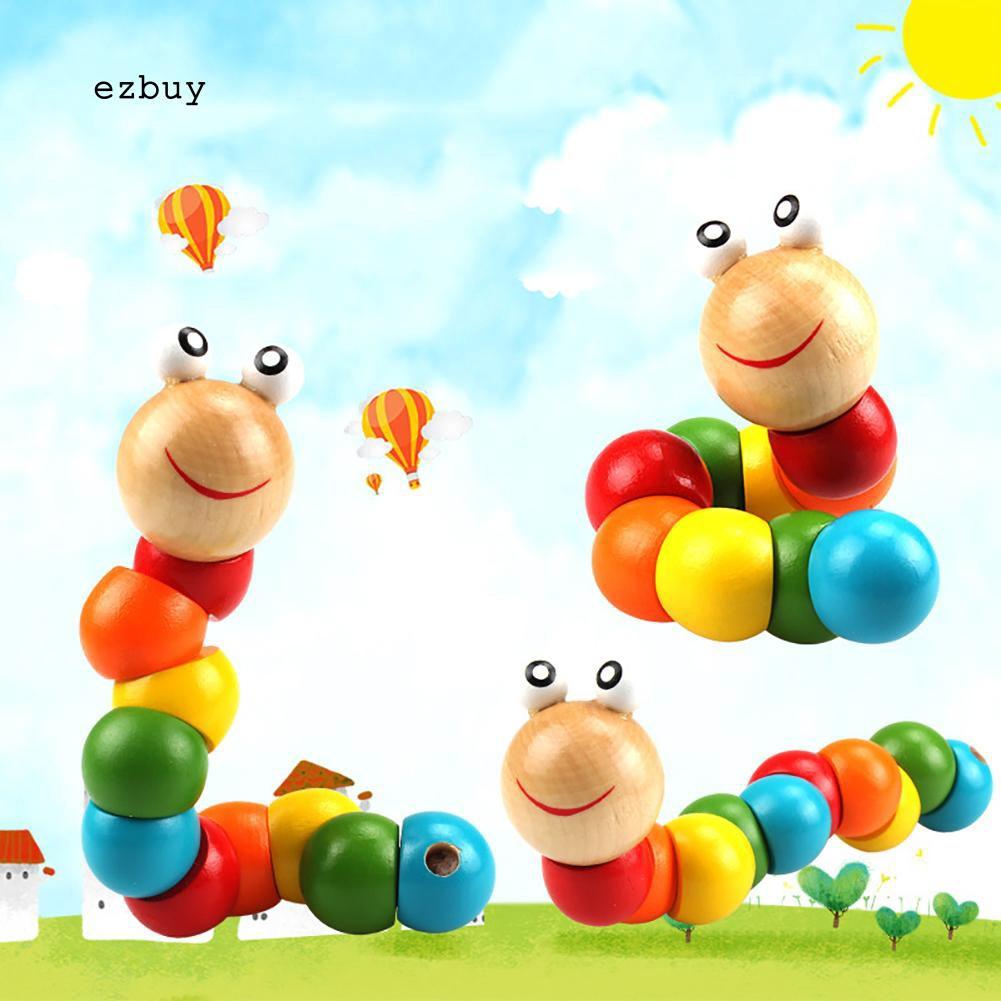 [FL] Mainan Puzzle Kayu Bentuk Cacing Warna Warni Untuk Edukasi Awal Anak