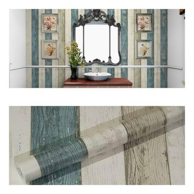 Wallpaper dinding murah ruang tamu rumah kamar tidur kayu ...