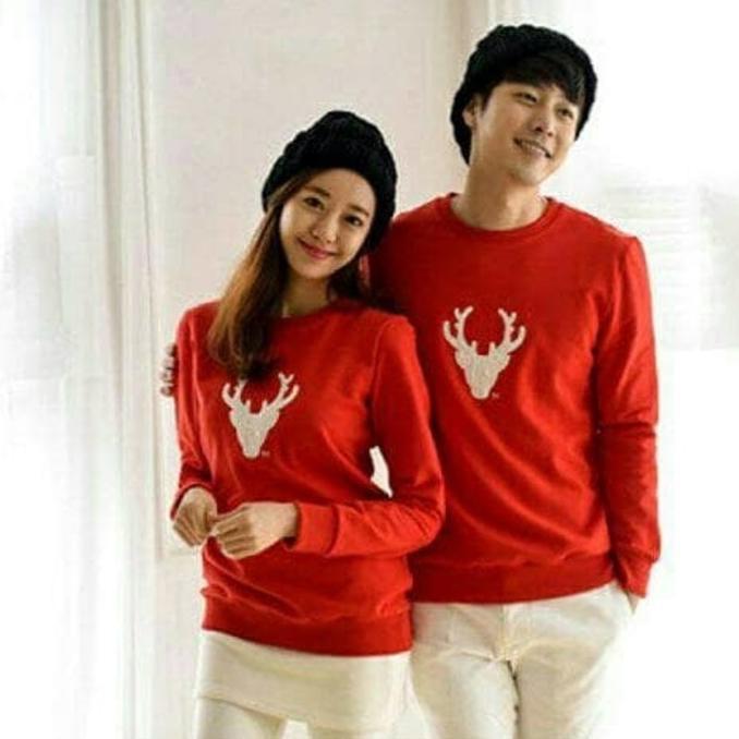 Jual sweater merah rusa blouse baju couple pria wanita natal christmas blus QR0178 | Shopee Indonesia