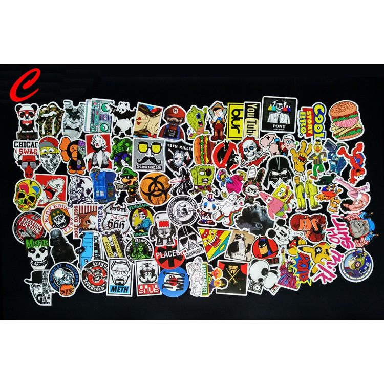 100PCS//lot Sticker Bomb Decal Vinyl Roll Car Skate Skateboard Laptop Luggage
