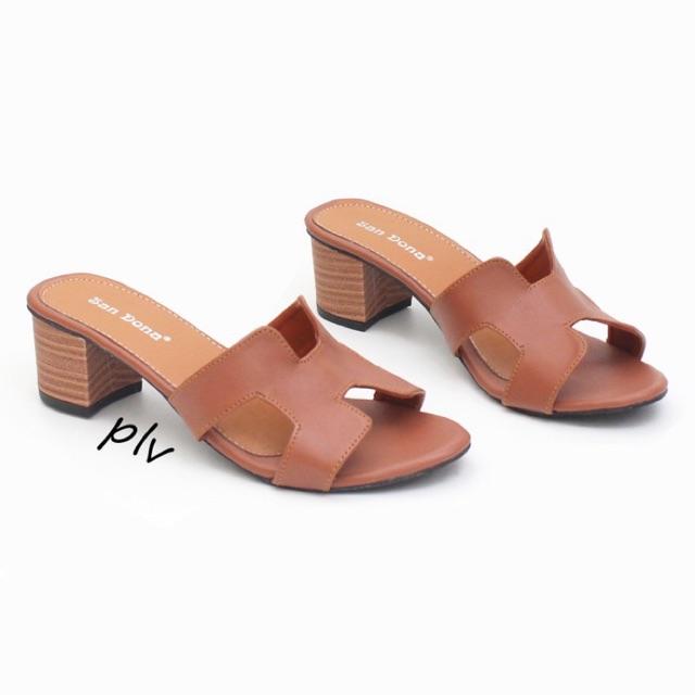 Fahira Shoes - Strap Block heels US19 - Tan\Cream\Hitam | Shopee Indonesia
