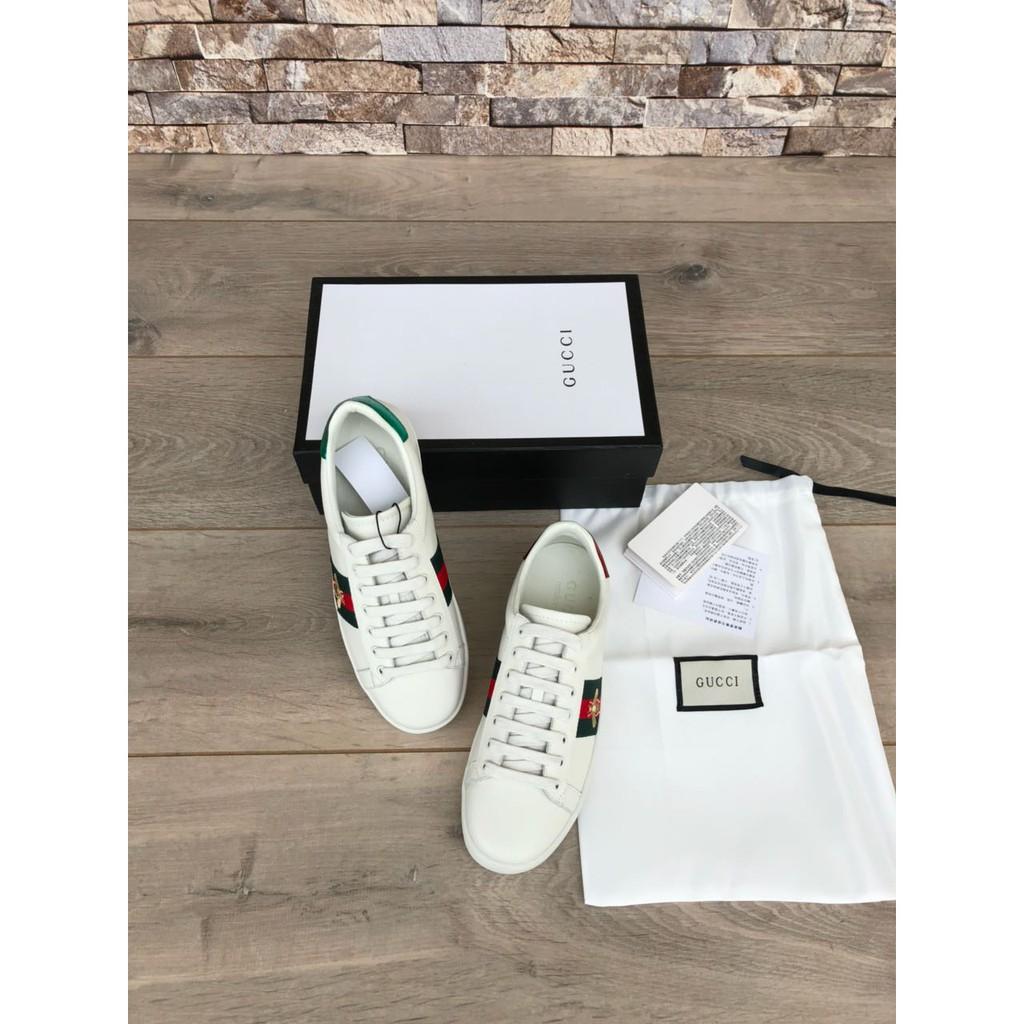 f56f8284da0 Sepatu Wanita Pria Gucci Sneaker Ace Embroidered Leather Bee Putih MIRROR  ORI KULIT ASLI ORI LEATHER