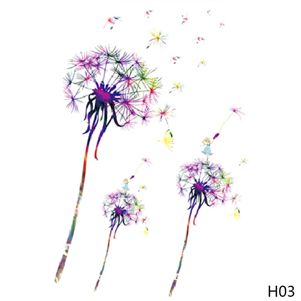 Stiker Tato Sementara Tahan Air Gambar Kartun Bunga Dandelion Ungu