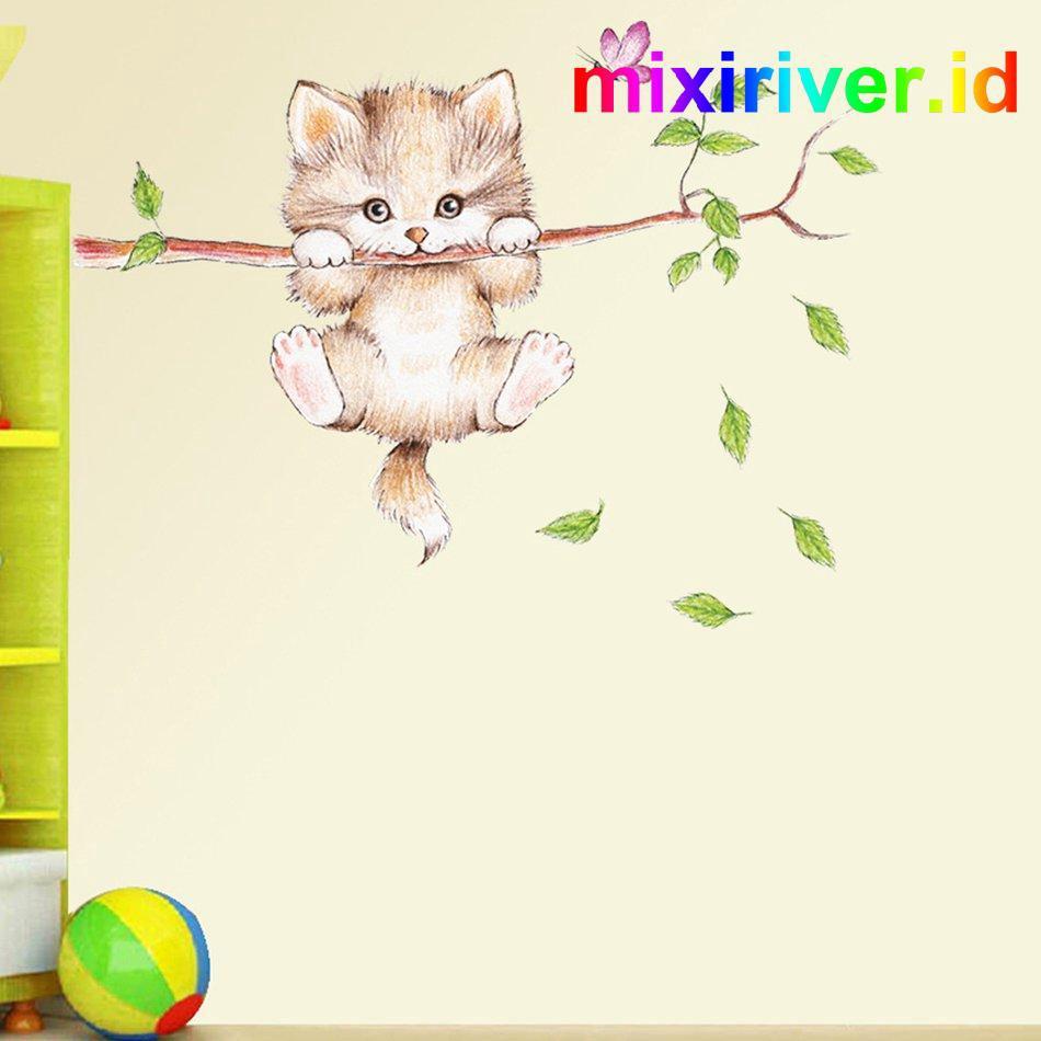 Stiker Dinding Wallpaper Desain Kartun Cabang Kucing Lucu