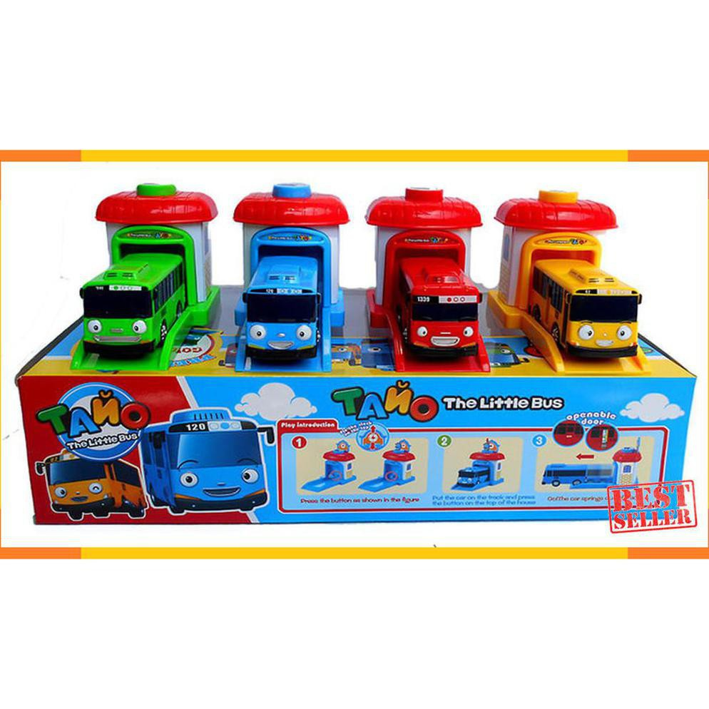 TAYO LITTLE BUS GARASI PULL BACK 4 In 1 SET KADO MAINAN MOBIL TAYO