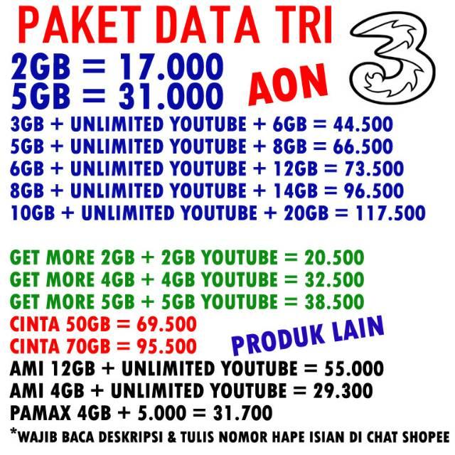 Termurah Tri Aon Ami 12gb Unlimited Youtube Cinta Get More Aon Unlimited Injek Voucher Shopee Indonesia
