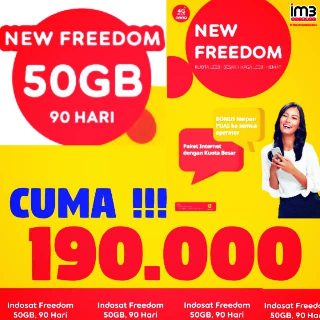 [HOT] 50GB 3 BULAN FREEDOM INDOSAT IM3 OOREDOO
