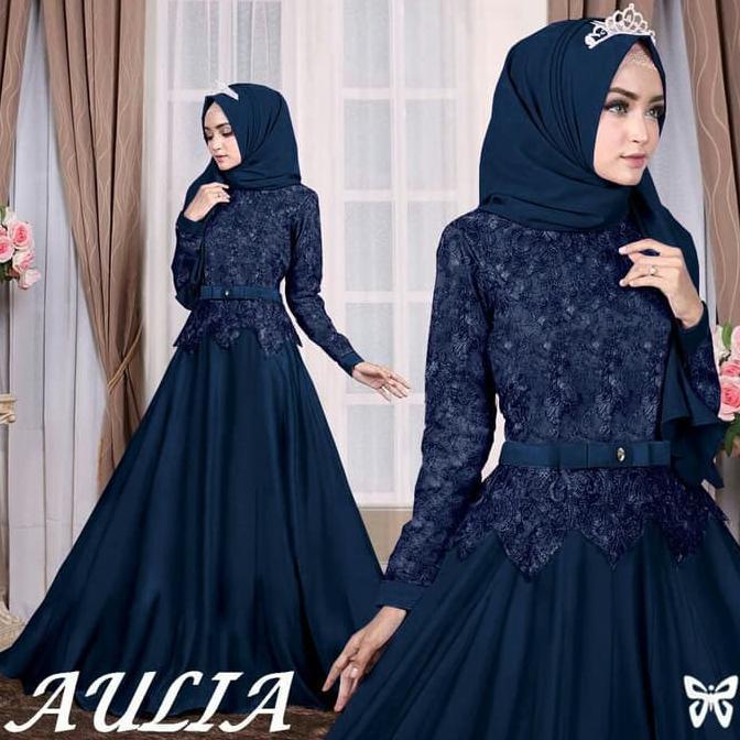 Gamis Gaul 2020 Maxi Aulia Navy Busana Muslim Terbaru Baju Gamis Brukat Ladangki Production Shopee Indonesia