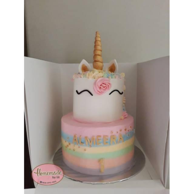 Kue Ulang Tahun Anak Unicorn 2 Tingkat Variasi 2