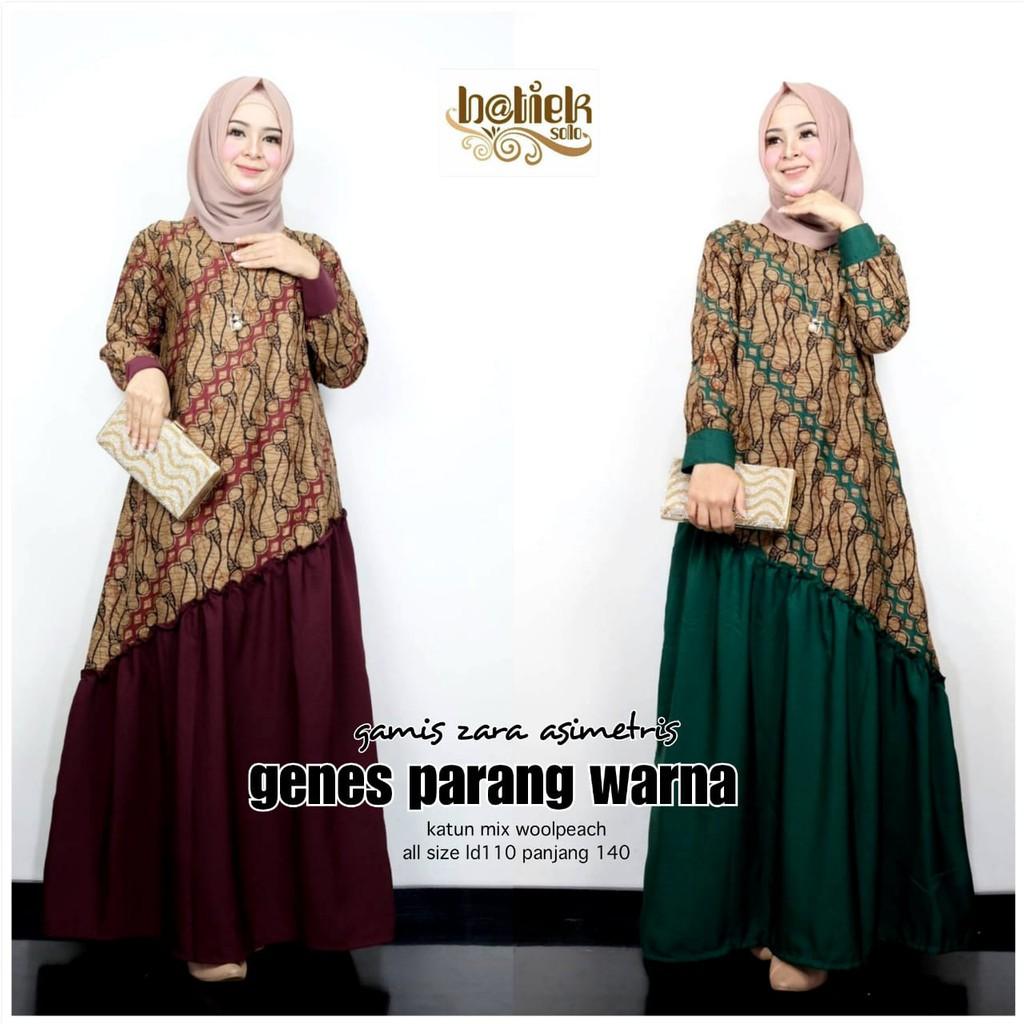 Gamis Batik Zara Asimetris Parang Warna