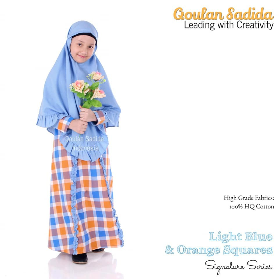 Gamis Anak Light Blue Orange Square Signature Series by Qoulan Sadida
