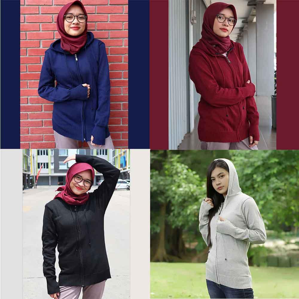 Jaket Sweater Switer Sweter Rajut Wanita Cewek Navy Marun Hitam Abu ROW 011-14 RM