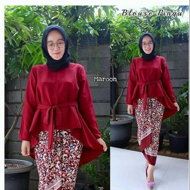 Kebaya Modern Hijab Model 2018 Baju Pesta Remaja Gemuk Brokat Katun Berjilbab Simple Cantik Modis