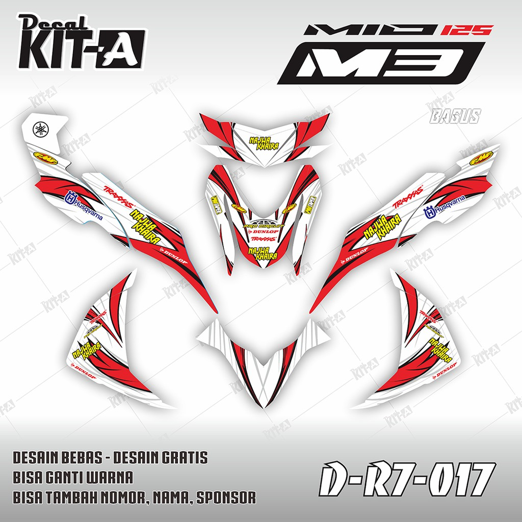Decal stiker motor mio m3 mio merah minimalis dekal sticker striping variasi mio m3 d r7 016 shopee indonesia
